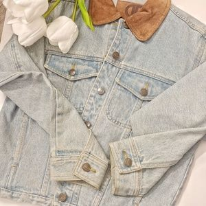 🌼 Vintage Jean Jacket with Suede Collar